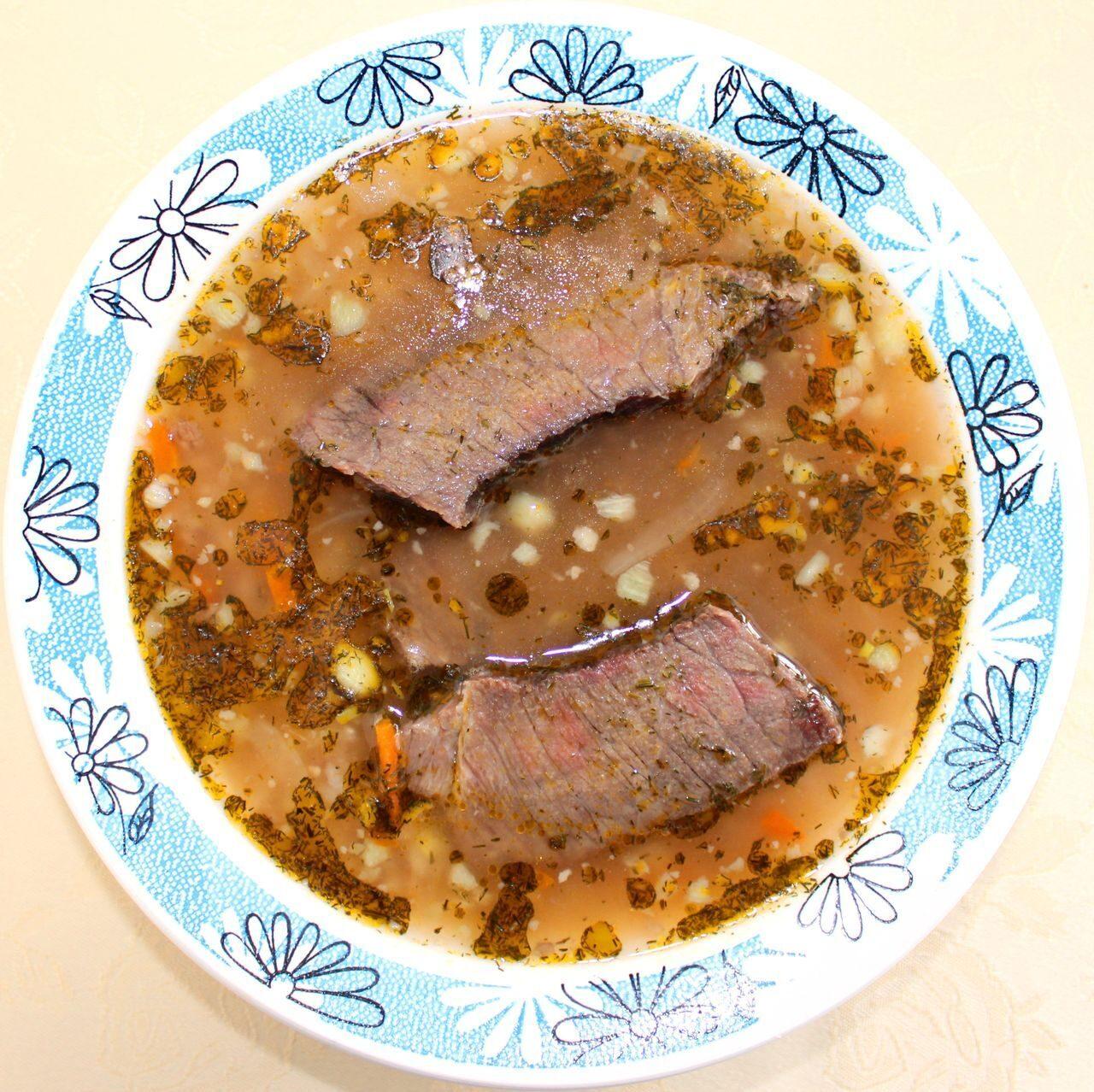 Суп харчо с соленым огурцом